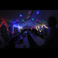 Late night hacking at Baconsvin village at BornHack 2016