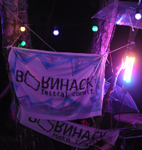 BornHack banners from previous camps.