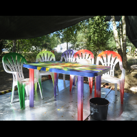 Colourful chairs!